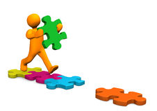 Manikin Running Puzzle Pieces Stock Photography