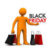 Manikin Shopping Bags Black Friday. Orange cartoon character with shopping bags and text Black Friday Royalty Free Stock Images