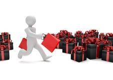 Manikin Shopping Bags Black Gift Cartons Stock Photos
