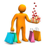 Manikin Shopping Bags Gift Hearts Stock Photos