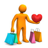 Manikin Shopping Bags Heart Royalty Free Stock Image