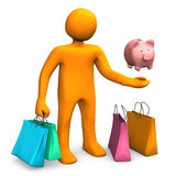 Manikin Shopping Bags Piggy Bank Royalty Free Stock Photos