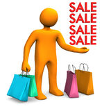 Manikin Shopping Bags Sale Stock Images