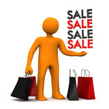Manikin Shopping Bags Sale. Orange cartoon character with shopping bags and text Sale. 3d illustration Stock Photo