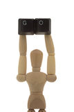 Manikin showing GO high up Royalty Free Stock Photo