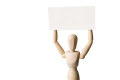 Manikin with a signboard Royalty Free Stock Images