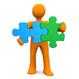 Manikin Two Puzzlepieces Royalty Free Stock Image