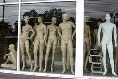 Fashion manikins in display window Royalty Free Stock Images