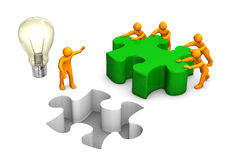Manikins Green Puzzle Teamwork Bulb Royalty Free Stock Photography