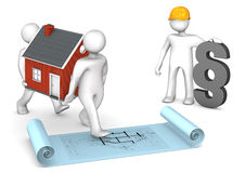 Manikins House Construction Plan Paragraph Royalty Free Stock Photo