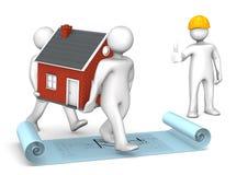 Manikins Ok House Construction Plan Royalty Free Stock Photo