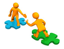 2 Manikins 2 Puzzles. Two orange cartoon characters with puzzle pieces on the white. 3d illustration Stock Images