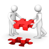 2 Manikins Red Puzzle. Two cartoon characters with red puzzle on the white. 3d illustration Royalty Free Illustration