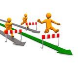 Manikins Steeplechase Arrows. Three orange cartoon characters running on arrows Stock Image