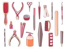 Manikyrutrustninguppsättning Nailfile olikt hjälpmedel för samling, nagelsax, sax hand dragen färgrik illustration Royaltyfri Foto