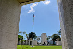 Manila American Cemetery Chapel. Situated near the center of the cemetery, the Chapel of the Manila American Cemetery is a white masonry building decorated with Stock Photography