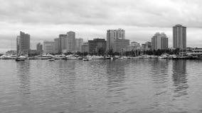 Manila Bay Skyline in Black & White Stock Images