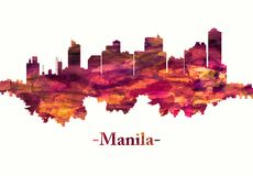 Manila city Philippines skyline in red vector illustration