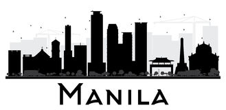 Manila City skyline black and white silhouette. Stock Photos