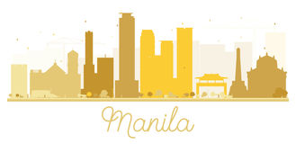 Manila City skyline golden silhouette. Vector illustration. Simple flat concept for tourism presentation, banner, placard or web site. Business travel concept Royalty Free Stock Image