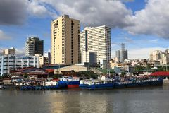 Manila city skyline. In Philippines. Residential towers and Pasig River Royalty Free Stock Photos