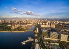 Manila Cityscape in Philippines. Blue Sky and Sunset Light. Pier in Foreground. royalty free stock photos