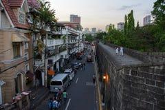 Manila Filipiny, Marzec, - 7, 2016: widok uliczny Muralla od ścian Intramuros w Manila Zdjęcie Stock