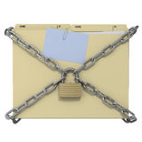 Manila folder with chain and padlock. Secure chained manila folder, blue post-it note and paper clip on white background Stock Images