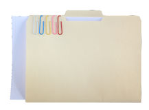 Manila Folder and Color Clips Royalty Free Stock Image