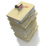 Manila folders ready For Filing. Stack of manila office folders or files stamped For Filing on white background Royalty Free Stock Image