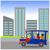 Manila Jeepney city scape. Illustration of a passenger Jeepney passing in front of high rise buildings. Philippine jeep with city background. Dubbed as the king vector illustration