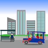 Manila Jeepney city scape. Illustration of a passenger Jeepney passing in front of high rise buildings. Philippine jeep with city background. Dubbed as the king royalty free illustration