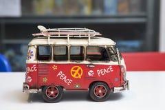 Painted hippie van, toy retro car royalty free stock image