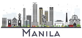 Manila Philippines City Skyline with Gray Buildings Isolated on. White Background. Vector Illustration. Business Travel and Tourism Concept with Historic royalty free illustration