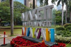Makati sign, Manila. MANILA, PHILIPPINES - DECEMBER 7, 2017: Make It Happen, Make It Makati sign at Ayala Triangle, Makati, Metro Manila. Metro Manila is one of Royalty Free Stock Photography
