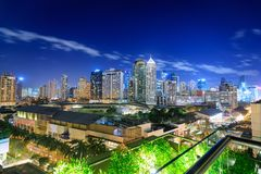 Eleveted, night view of Makati, the business district of Metro Manila, Philippines royalty free stock photos
