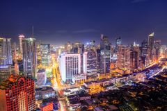 Eleveted, night view of Makati, the business district of Metro Manila stock photos