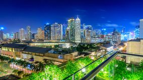 Eleveted, night view of Makati, the business district of Metro Manila stock photography