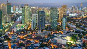 Eleveted, Night view of Rockwell, View from P Burgos Makati in Metro Manila, Philippines royalty free stock images