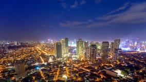 Eleveted, Night view of Rockwell, View from P Burgos Makati in Metro Manila, Philippines stock photo