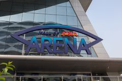Mall of Asia Arena facade. it is an indoor arena within the SM Mall of Asia complex in Pasay, Manila, Philippines. Manila, Philippines - Feb 10, 2018 : Mall of Stock Photos