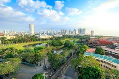 Manila city skyline in Philippines. Ermita and Paco districts seen from Intramuros. Manila, Philippines - Feb 4, 2018 : Manila city skyline in Philippines Royalty Free Stock Photography