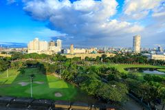 Manila city skyline in Philippines. Ermita and Paco districts seen from Intramuros. Manila, Philippines - Feb 4, 2018 : Manila city skyline in Philippines Stock Photos