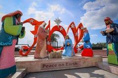 Peace on Earth, Catholic iconic arts in Rizal park, Manila city. Manila, Philippines - Feb 4, 2018 : Peace on Earth, Catholic iconic arts in Rizal park, Manila Stock Image