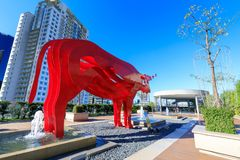 Red carabao sculpture at SM Aura Premier, Shopping mall in Taguig, Philippines Stock Images