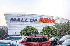 Signboard of Mall of Asia shopping mall in Pasay, Manila city. Manila, Philippines - Feb 10, 2018 : Signboard of Mall of Asia shopping mall in Pasay, Manila city Royalty Free Stock Photo