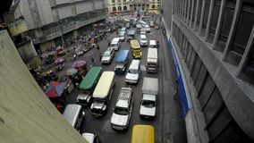Vehicles Heavy traffic caused by vendor stalls on roadside stock video
