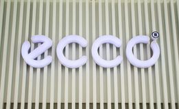 Manila, Philippines - 26 June, 2016: Logo of famous shoes brand Ecco in Mall of Asia, Manila, Philippines. Manila, Philippines - 26 June, 2016: Logo of famous Royalty Free Stock Photos