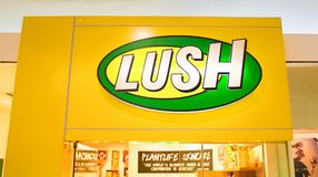 Manila, Philippines - 26 June, 2016: Logo of famous cosmetic brand Lush in Mall of Asia, Manila, Philippines. Manila, Philippines - 26 June, 2016: Logo of Stock Images