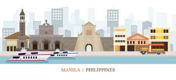 Manila, Philippines Landmarks Skyline. Cityscape, Travel and Tourist Attraction stock illustration
